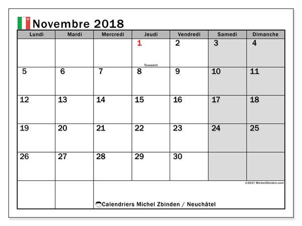 Calendrier novembre 2018, avec les jours fériés du Canton de Neuchâtel. Calendrier gratuit à imprimer.