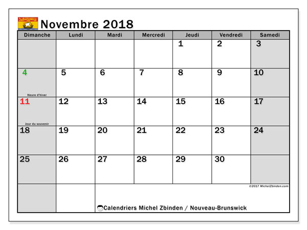 Calendrier novembre 2018, avec les jours fériés du Nouveau-Brunswick. Calendrier pour le mois à imprimer gratuit.
