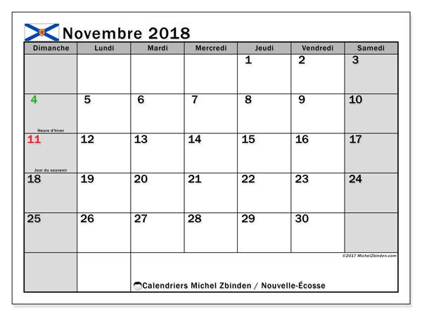 Calendrier novembre 2018, avec les jours fériés de la Nouvelle-Écosse. Calendrier gratuit à imprimer.