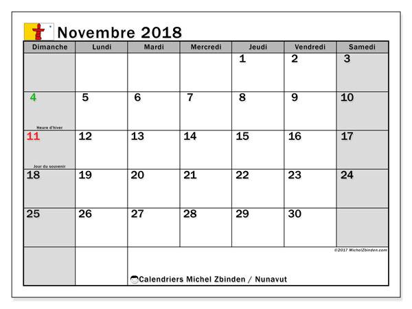 Calendrier novembre 2018, avec les jours fériés du Nunavut. Organisateur à imprimer gratuit.