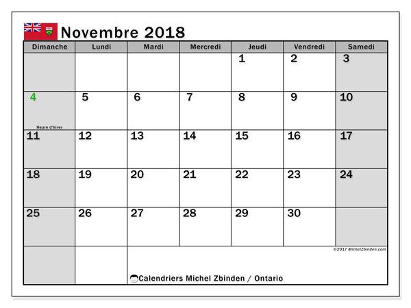 Calendrier novembre 2018, avec les jours fériés de l'Ontario. Calendrier mensuel à imprimer gratuit.