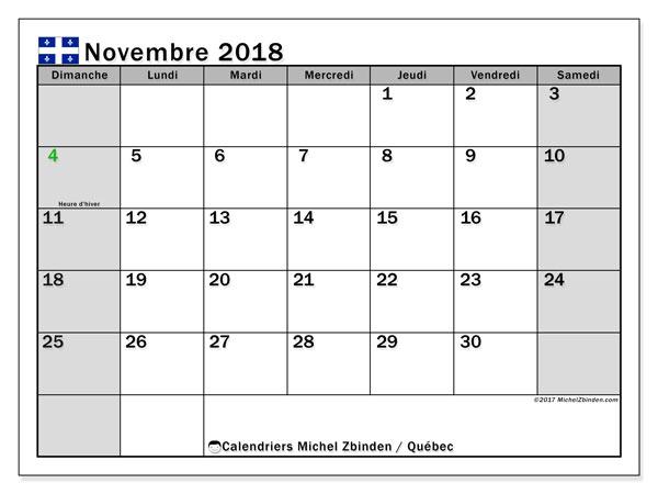 Calendrier novembre 2018, avec les jours fériés du Québec. Organisateur à imprimer gratuit.