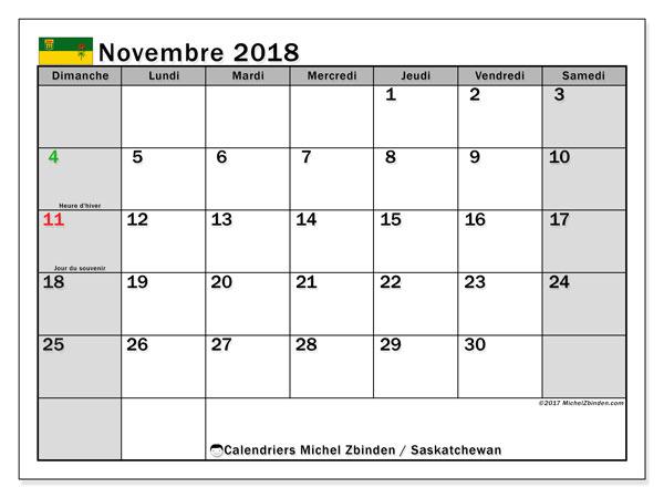 Calendrier novembre 2018, avec les jours fériés de la Saskatchewan. Calendrier à imprimer gratuit.
