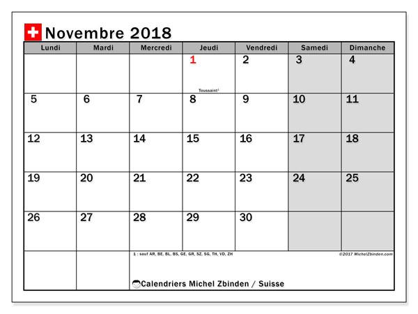 Calendrier novembre 2018, avec les jours fériés de la Suisse. Calendrier pour le mois à imprimer gratuit.