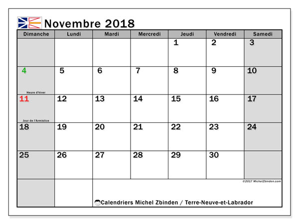 Calendrier novembre 2018, avec les jours fériés de Terre-Neuve-et-Labrador. Calendrier pour le mois à imprimer gratuit.