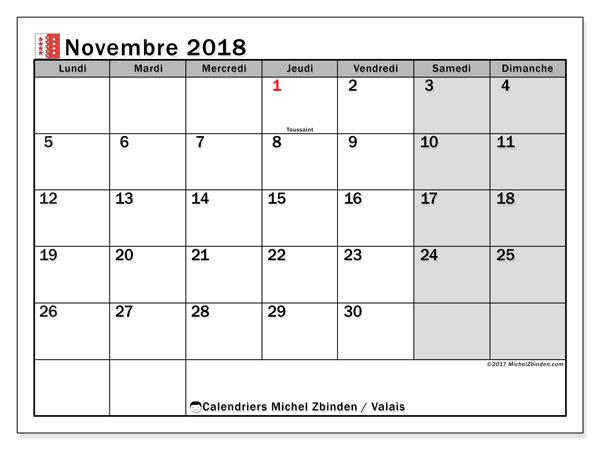 Calendrier novembre 2018, avec les jours fériés du Canton du Valais. Calendrier mensuel à imprimer gratuit.