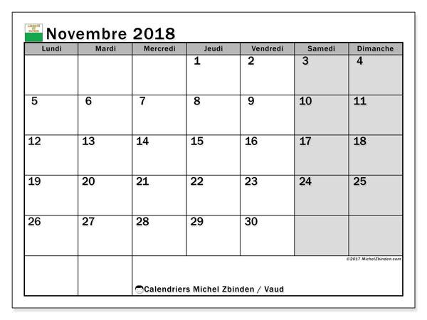 Calendrier novembre 2018, avec les jours fériés du Canton de Vaud. Planificateur à imprimer gratuit.