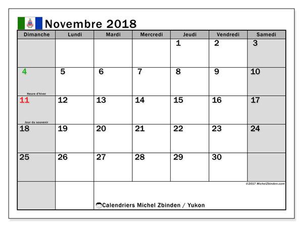 Calendrier novembre 2018, avec les jours fériés du Yukon. Calendrier à imprimer gratuit.