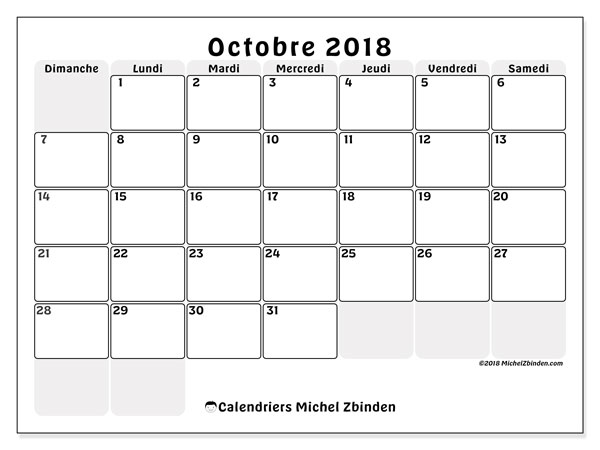 Calendriers octobre 2018 (DS).  44DS.