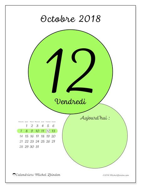Calendrier octobre 2018 (45-12DS). Calendrier pour la journée à imprimer gratuit.