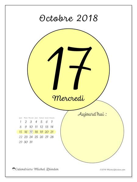 Calendrier octobre 2018 (45-17LD). Calendrier pour la journée à imprimer gratuit.