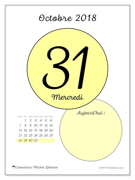 Calendrier octobre 2018 (45-31DS). Calendrier pour la journée à imprimer gratuit.