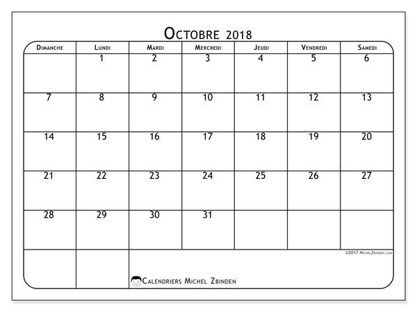Calendriers octobre 2018 (DS).  51DS.