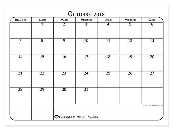 Calendrier octobre 2018 - 51DS. .