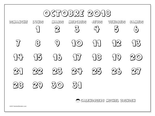 Calendrier octobre 2018 (56DS). Calendrier pour le mois à imprimer gratuit.