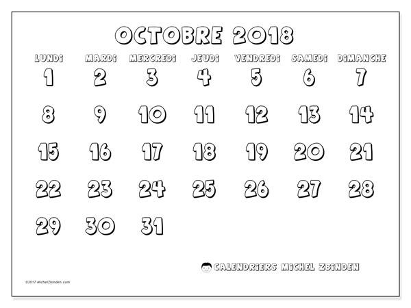 Calendrier octobre 2018 (56LD). Calendrier à imprimer gratuit.