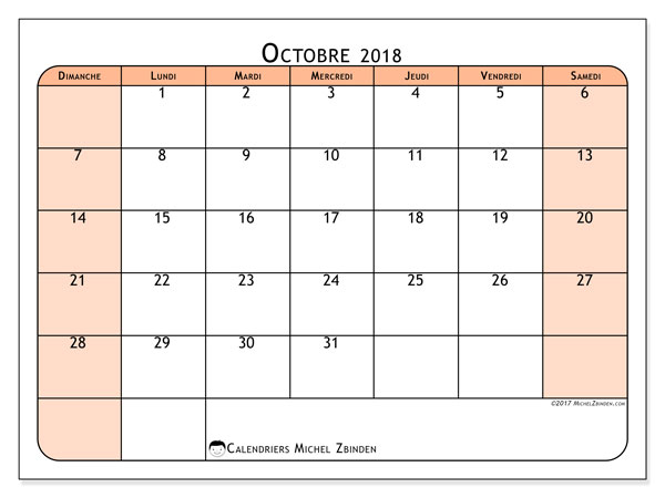 Calendriers octobre 2018 (DS).  61DS.