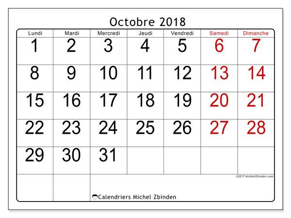 Calendrier octobre 2018 (62LD). Calendrier à imprimer gratuit.