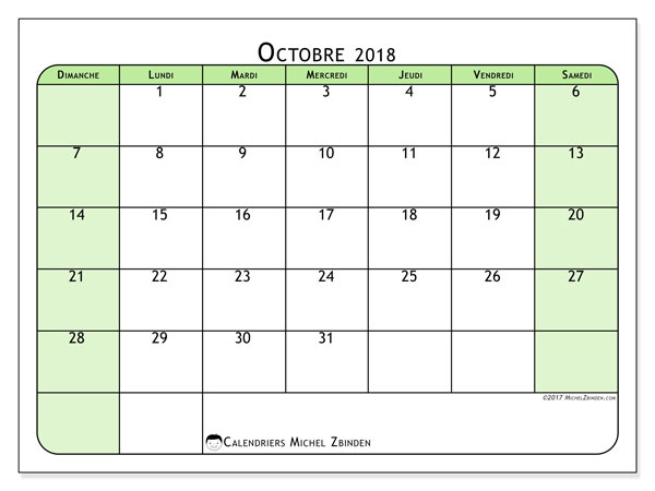 Calendriers octobre 2018 (DS).  65DS.
