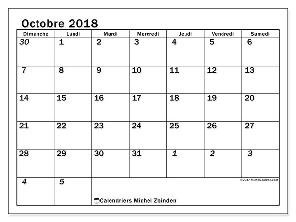 Calendrier octobre 2018 (66DS)