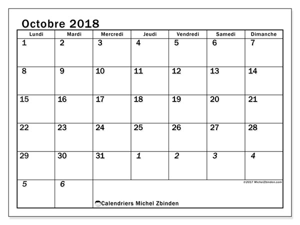 Calendrier octobre 2018 (66LD). Calendrier gratuit à imprimer.