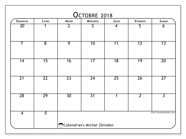 Calendriers octobre 2018 (DS).  67DS.