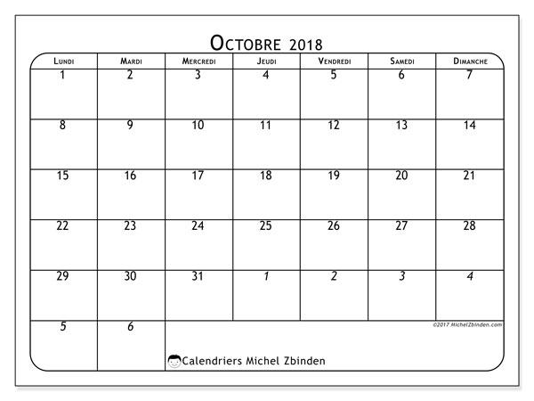 Calendrier octobre 2018 (67LD). Calendrier mensuel à imprimer gratuit.