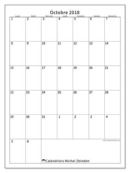 Calendrier octobre 2018 - 68LD. Calendrier mensuel à imprimer gratuit.