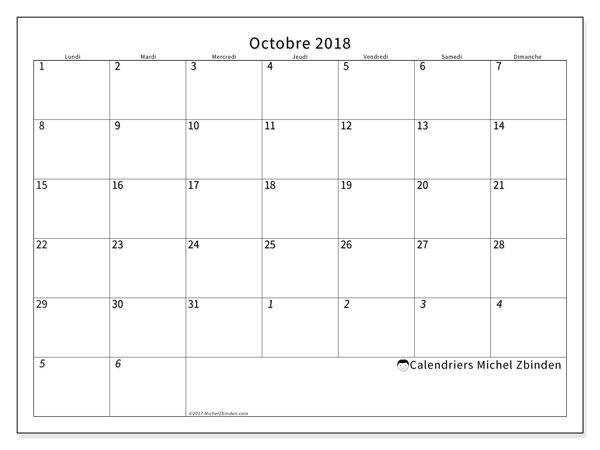 Calendrier octobre 2018 (70LD). Calendrier mensuel à imprimer gratuit.