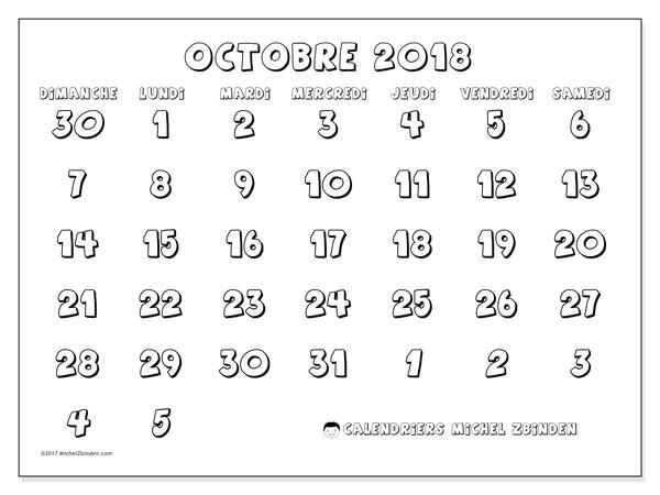 Calendrier octobre 2018 - 71DS. Calendrier gratuit à imprimer.