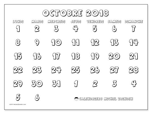 Calendrier octobre 2018 (71LD). Calendrier gratuit à imprimer.
