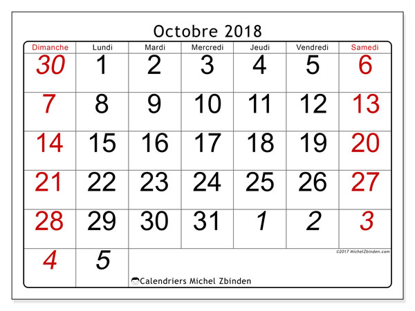 Calendriers octobre 2018 (DS).  72DS.