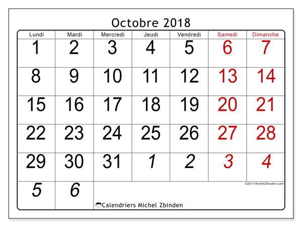 Calendrier octobre 2018 - 72LD. Calendrier imprimable gratuit.