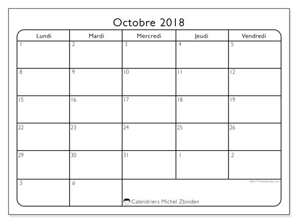 Calendrier octobre 2018 (74DS)