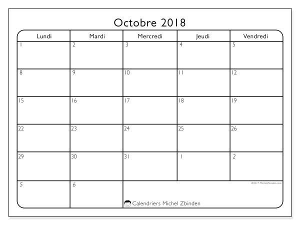 Calendrier octobre 2018 (74LD). Planificateur à imprimer gratuit.