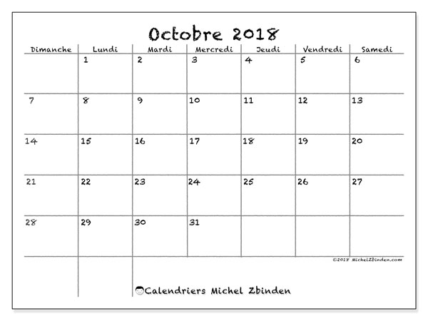 Calendriers octobre 2018 (DS).  77DS.
