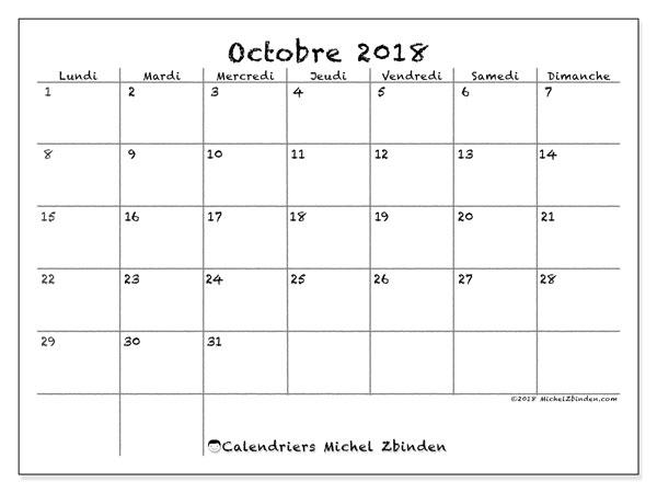 Calendrier octobre 2018 - 77LD. Calendrier à imprimer gratuit.