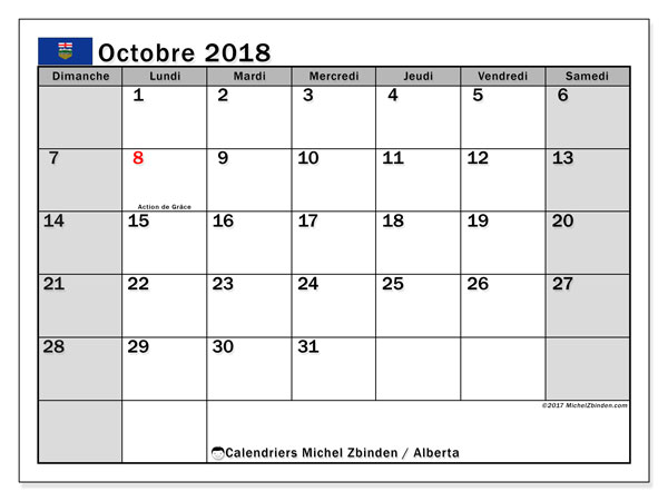 Calendrier octobre 2018, avec les jours fériés de l'Alberta. Calendrier gratuit à imprimer.
