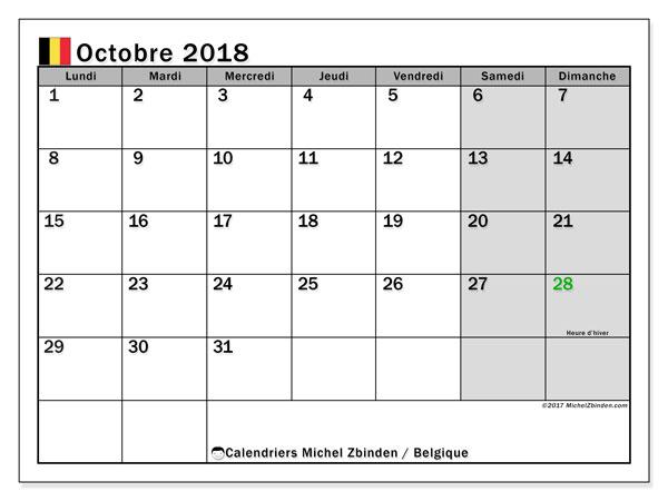 Calendrier octobre 2018, avec les jours fériés de la Belgique. Calendrier gratuit à imprimer.