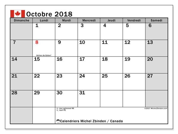Calendrier octobre 2018, avec les jours fériés du Canada. Calendrier mensuel à imprimer gratuit.