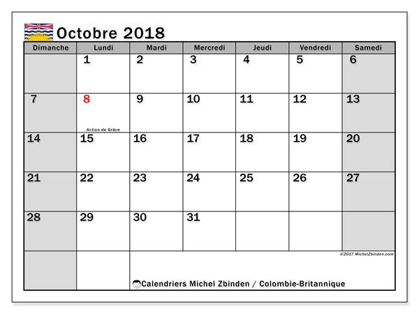 Calendrier octobre 2018, avec les jours fériés de la Colombie-Britannique. Planificateur à imprimer gratuit.