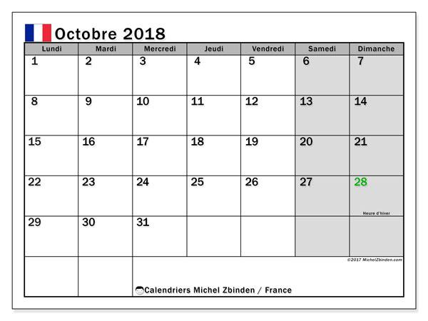 Calendrier octobre 2018, avec les jours fériés de la France.. Calendrier pour le mois à imprimer gratuit.