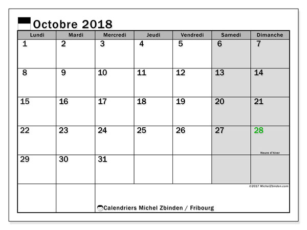 Calendrier Fribourg, octobre 2018