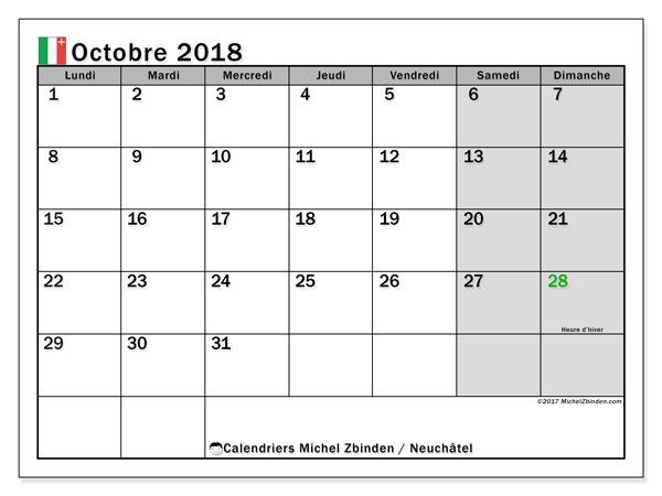 Calendrier octobre 2018, avec les jours fériés du Canton de Neuchâtel. Calendrier imprimable gratuit.