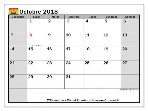 Calendrier octobre 2018, avec les jours fériés du Nouveau-Brunswick. Organisateur à imprimer gratuit.