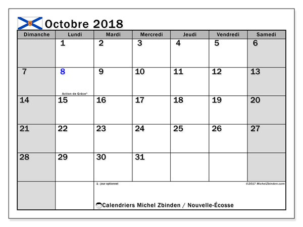 Calendrier octobre 2018, avec les jours fériés de la Nouvelle-Écosse. Calendrier imprimable gratuit.