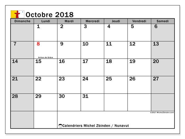 Calendrier octobre 2018, avec les jours fériés du Nunavut. Calendrier gratuit à imprimer.
