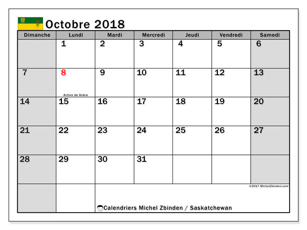 Calendrier octobre 2018, avec les jours fériés de la Saskatchewan. Calendrier pour le mois à imprimer gratuit.