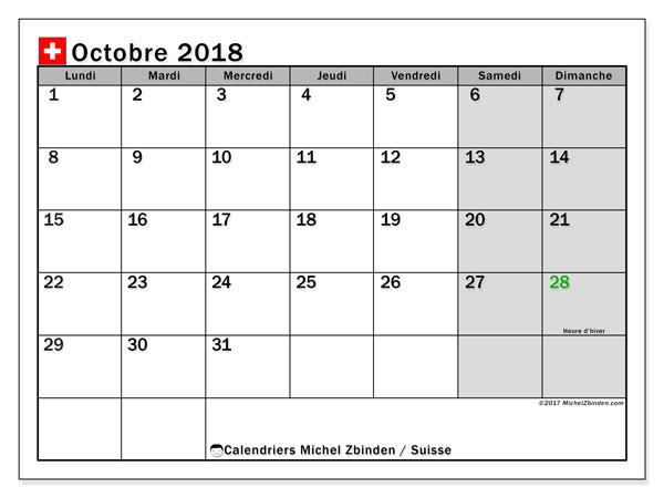 Calendrier octobre 2018, avec les jours fériés de la Suisse. Calendrier gratuit à imprimer.