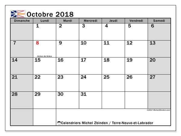 Calendrier octobre 2018, avec les jours fériés de Terre-Neuve-et-Labrador. Calendrier mensuel à imprimer gratuit.